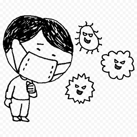 Drawing Boy Wear Surgical Mask Surrounded By Germs