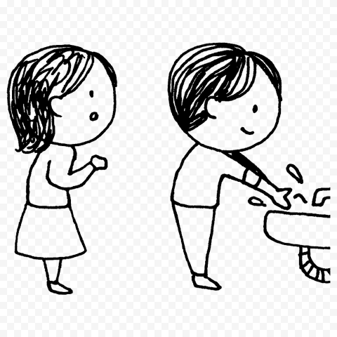 Two Children Washing Their Hands Outline Drawing