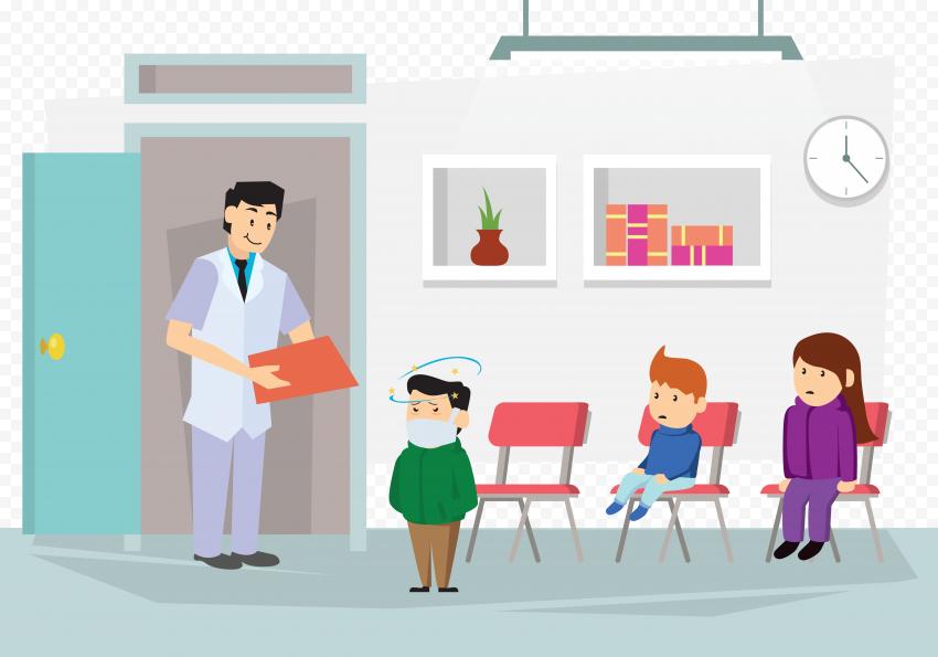 Sick Children Medical Office Doctor Illustration