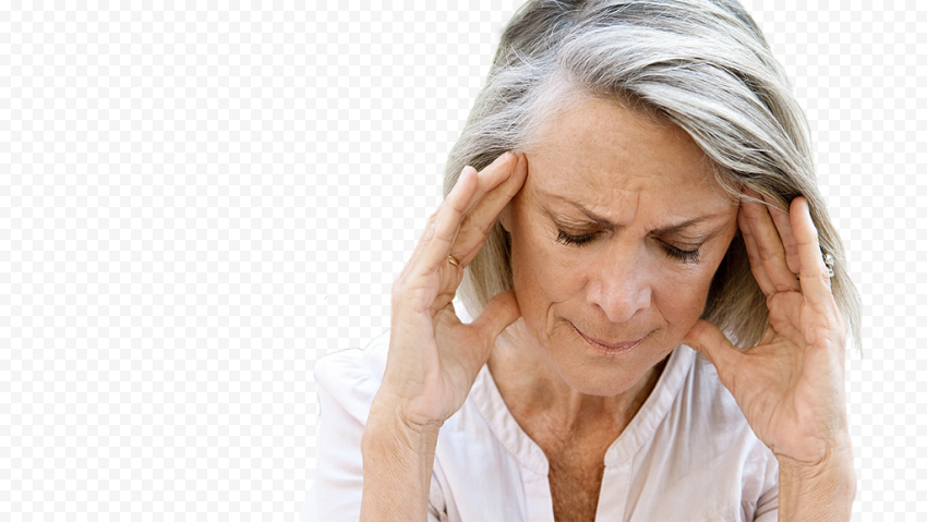 Old Woman Female Feels Pain Migraine Headache