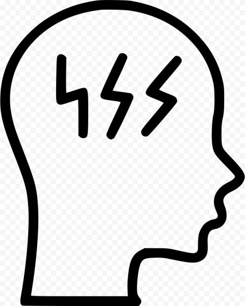 Black Head Brain Migraine Headache Dizziness Icon