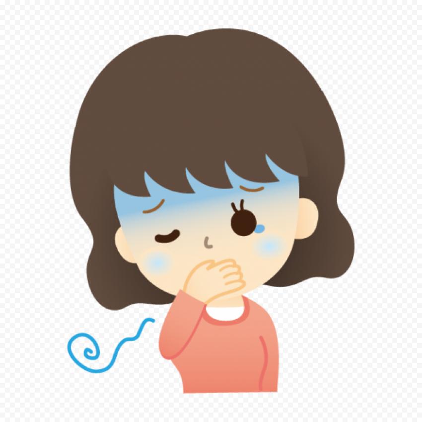 Little Girl Pain Feels Sick Cartoon Clipart Vector