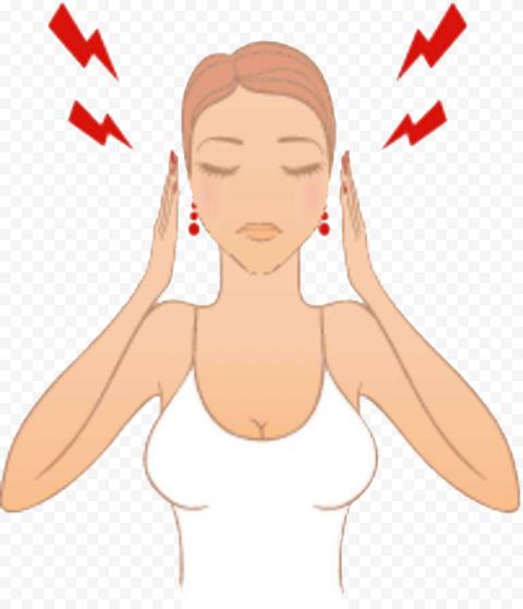 Cartoon Woman Feels Sick Pain Migraine Headache