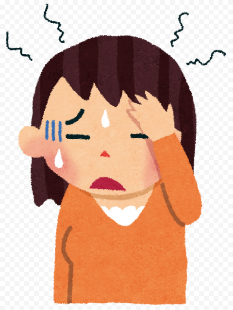 Cartoon Cute Girl Feels Sick Pain Migraine Headache