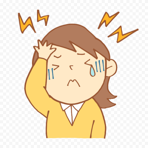 Little Cute Girl Pain Feels Sick Headache Cartoon Citypng