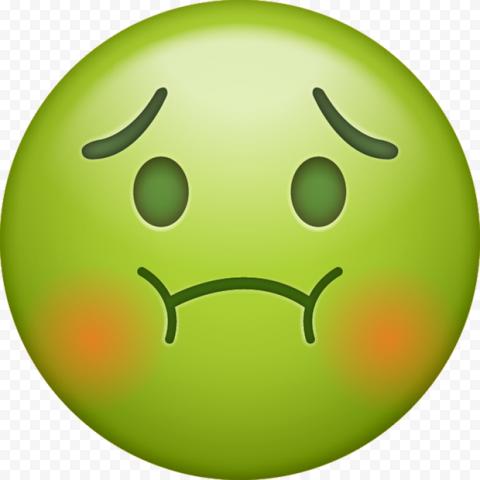 Green Face Emoji Sick Apple Cartoon Animated