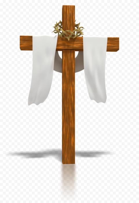 Brown Wooden Cross Calvary Crucifix Cloth Draped