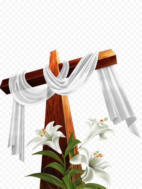Brown Wooden Cross With Flower Cloth Illustration