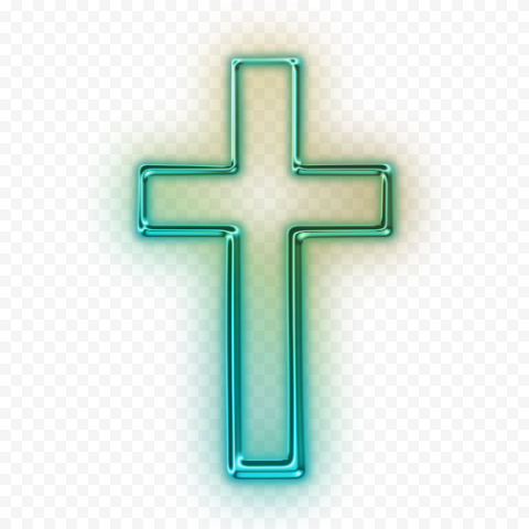 Green Neon Christian Christianity Cross Bright