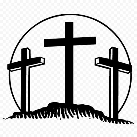 Three Crosses Hill Silhouette Calvary Cross Icon