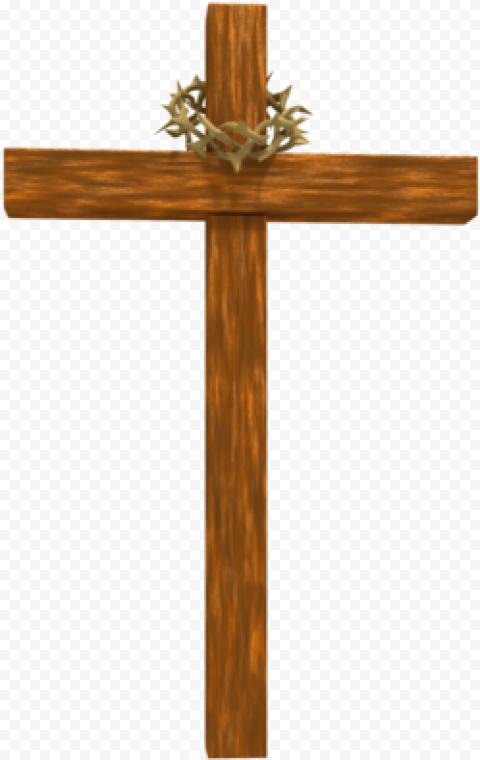 Wooden Cross Christ Crown Of Thorns Illustration