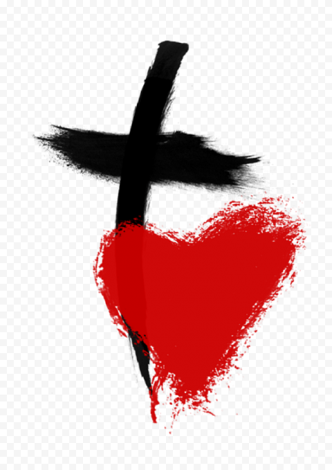 Black Christ Cross Christianity Symbol & Red Heart