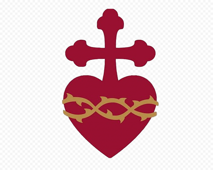 Christ Cross Attached To Heart Silhouette Love God