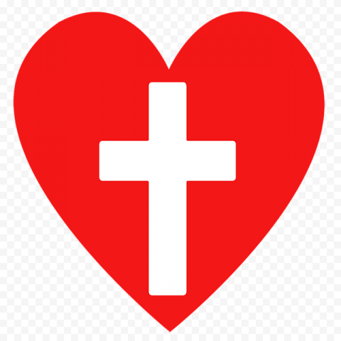 Sacred Holy Cross With Red Heart Love God Icon
