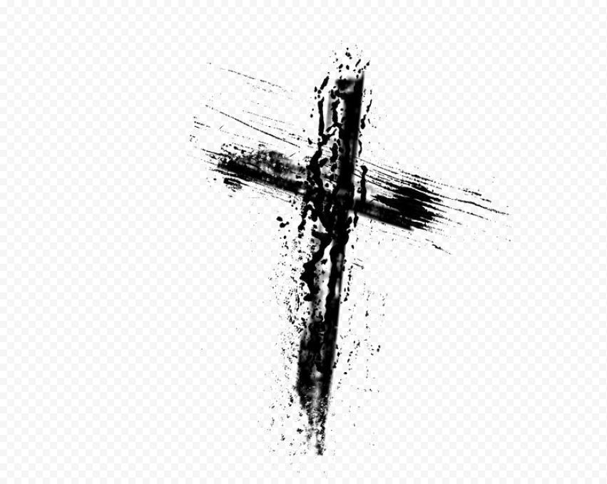 Black Christian Cross Brush Stroke Icon