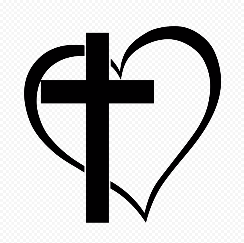 Black Sacred Holy Cross With Heart Love God Icon