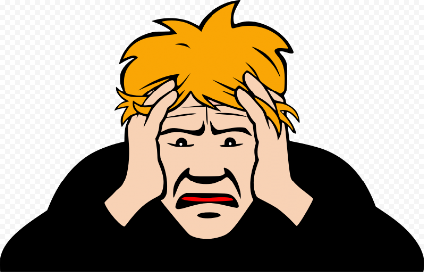 Cartoon Man Sick Pain Migraine Headache Clipart