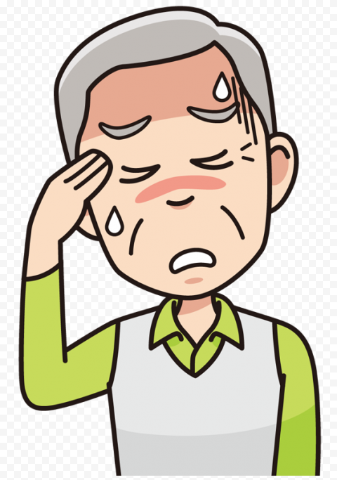 Old Man Sick Pain Migraine Headache Sweaty Cartoon