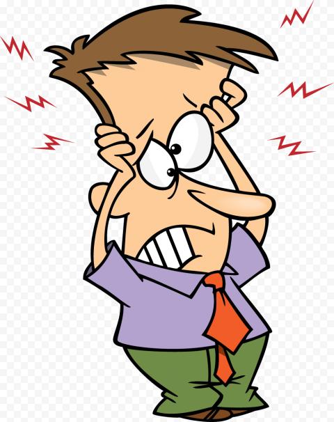 Cartoon Man Sick Pain Headache Facial Expression