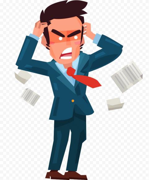Pain Headache Standing Businessman Cartoon Sick