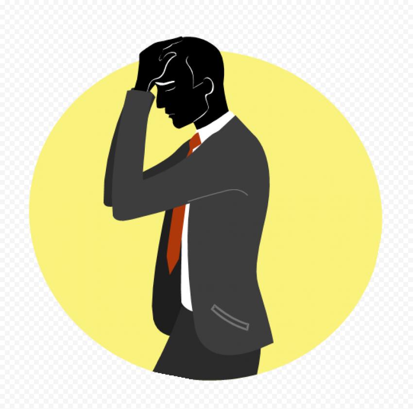Pain Headache Standing Businessman Cartoon Icon