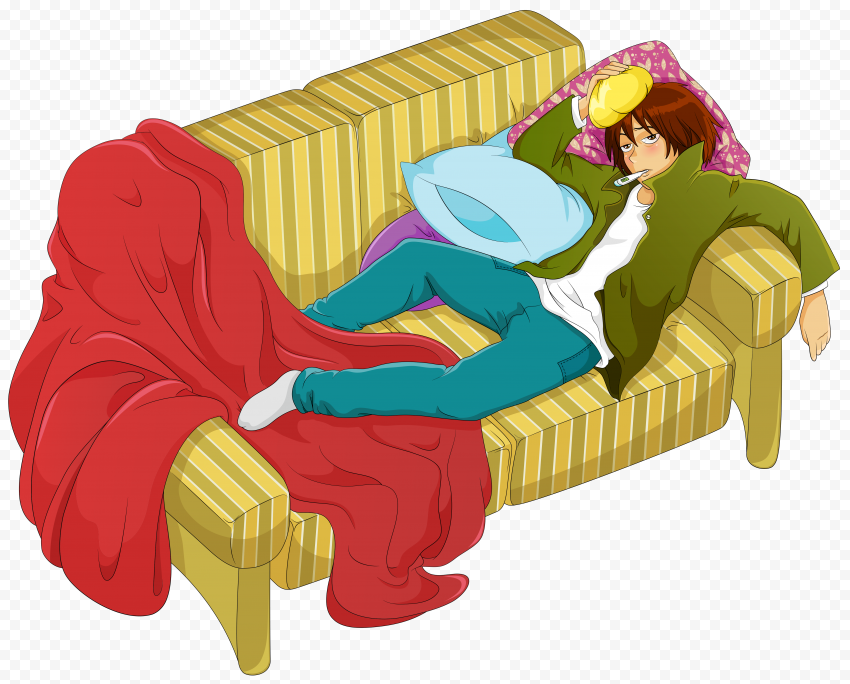 Sick Has Fever Anime Character Cartoon In Armchair
