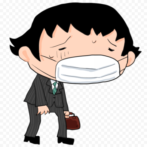 Sick Man Wear Business Suit With Surgical Mask