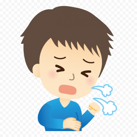 Kid Boy Cartoon Sick Coughing Sneezing Common Cold