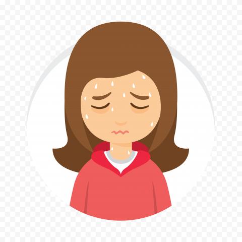 Sick Girl Cartoon Fever Sweating Round Icon Vector