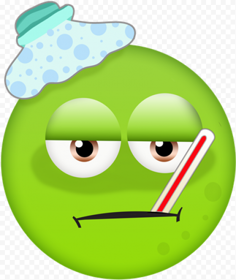 Green Emoji Has Fever With Thermometer In Mouth