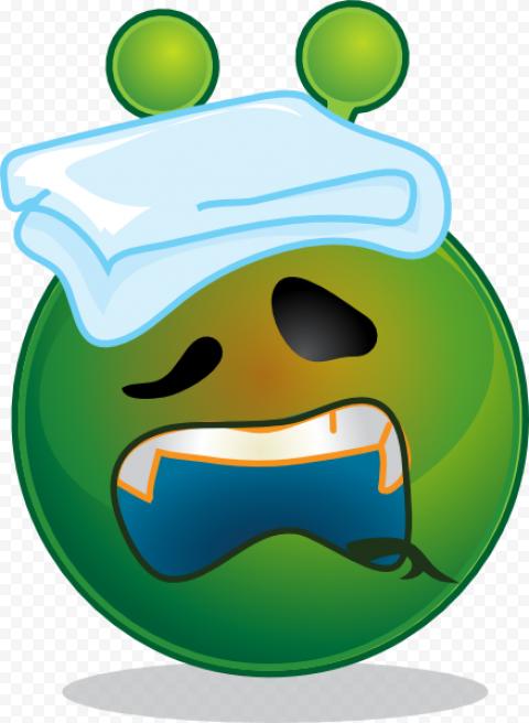 Tired Sick Fever Headache Green Emoji Face