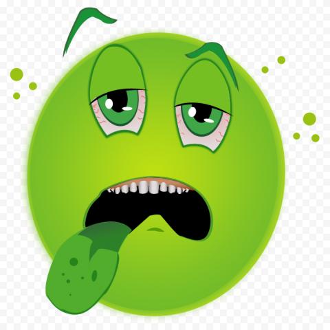 Green Face Emoji Emoticon Sick Show His Tongue