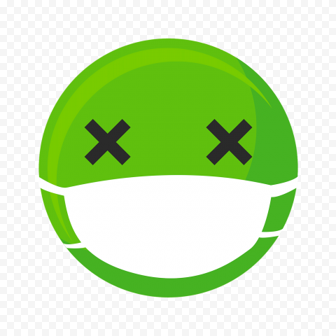 Sick Green Emoji Face With Surgical Mask