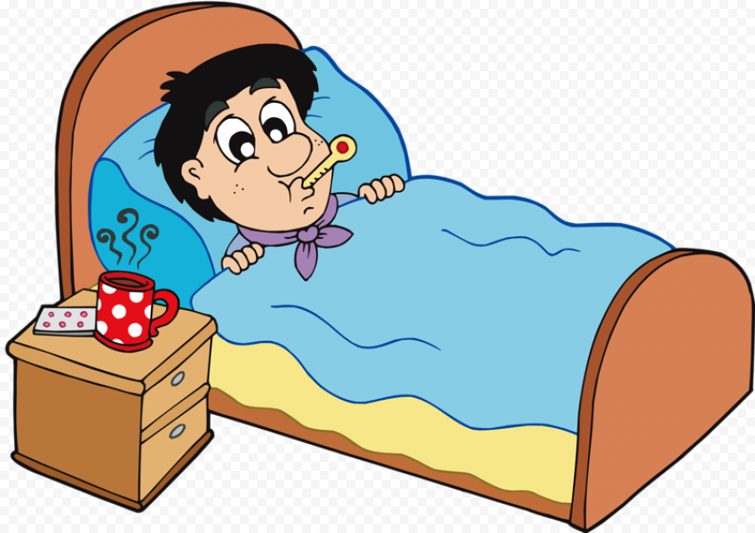 Cartoon Sick Kid Boy In Bed With Thermometer