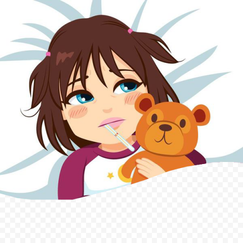 Cute Girl Sick Has Fever With Thermometer In Bed