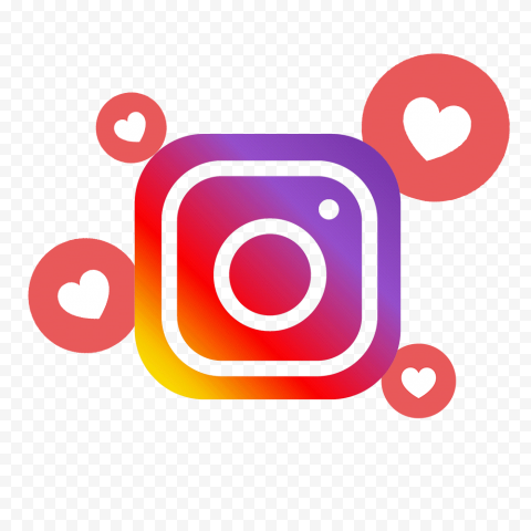 Square Instagram Logo With Like Heart Icons