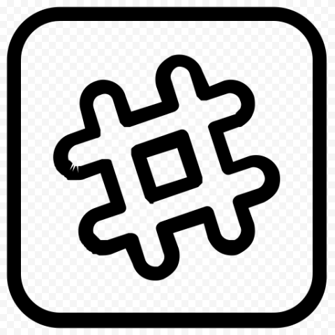 Square Button Black Outline Hashtag Computer Icon