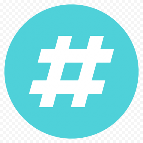 Round Hashtag Icon Social Media
