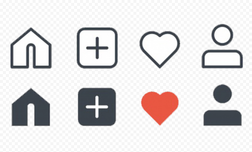 Instagram Group Of Buttons Icons