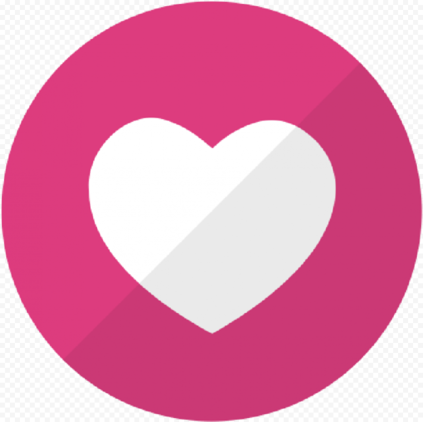 Flat Round Social Media Like Heart Icon