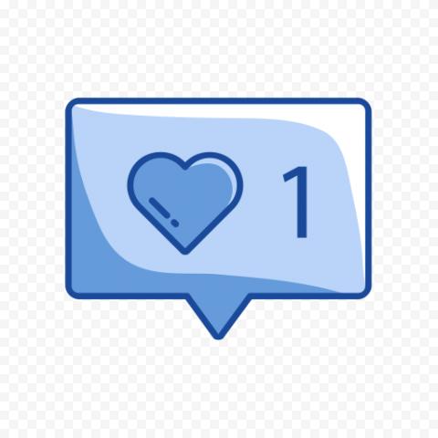 Social Media One Like Notification Blue Icon