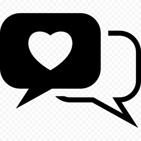 Black Heart Like Social Notification Message Icon