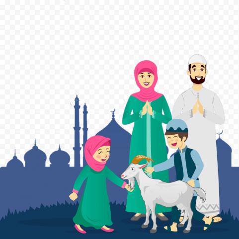 Eid Al Adha Happy Family With sheep Cartoon