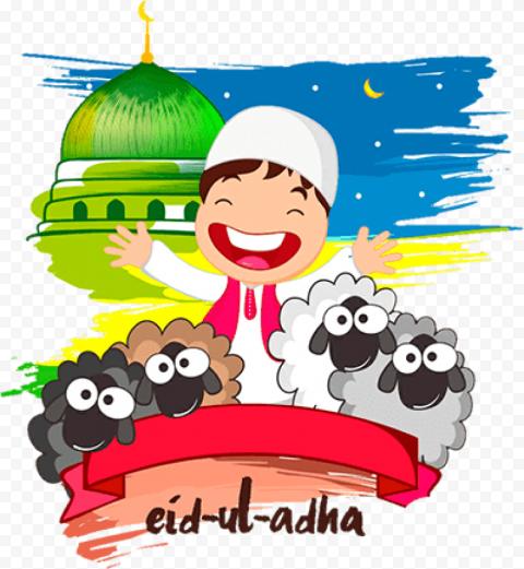 Happy Muslim Child With Sheeps Cartoon Eid Al Adha