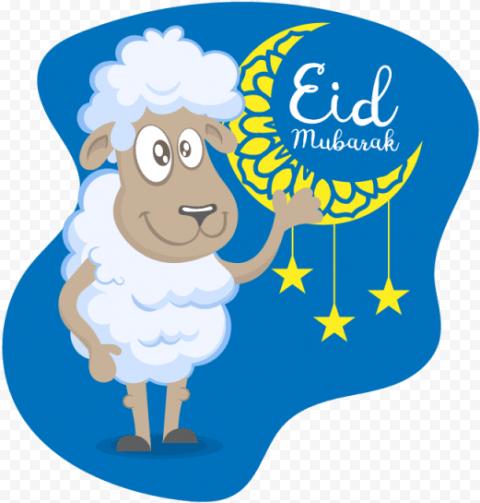 Eid Adha Mubarak Sheep Cartoon Illustration