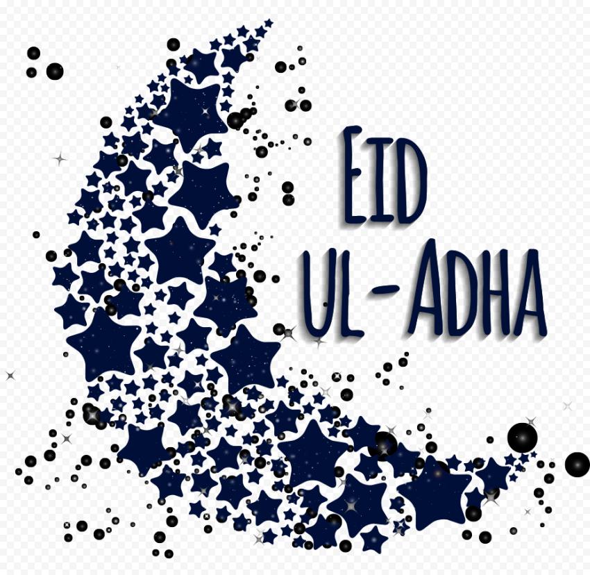 Eid Al Adha Blue Illustration With Moon & Stars
