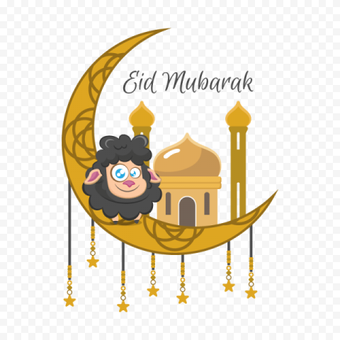 Islamic Eid Adha Mubarak With Sheep Illustration