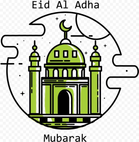 Eid Al Adha Mubarak Round Logo Green Mosque