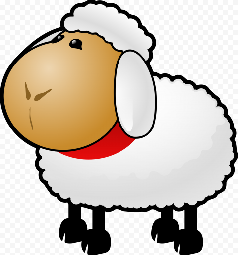 Cute White Sheep Cartoon