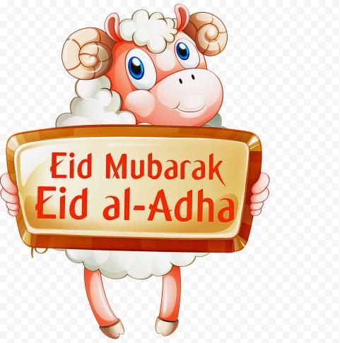 Cartoon Sheep Standing Up Eid Adha Mubarak
